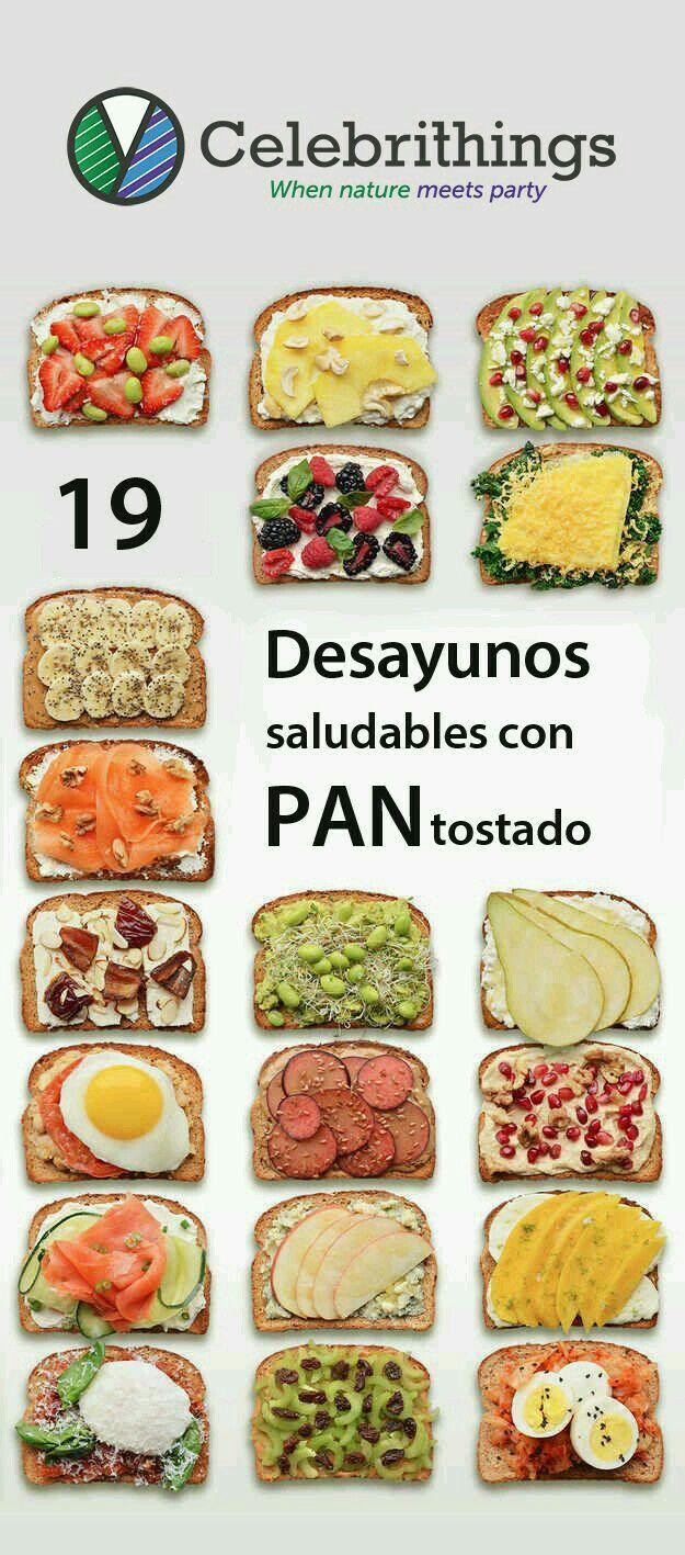 Desayunos con pan integral | Desayunos saludables, Comida