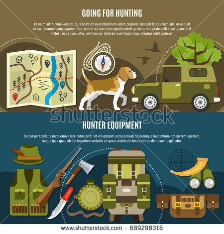 Hunting Horizontal Banners Set With Dog Car And Supplies Symbols