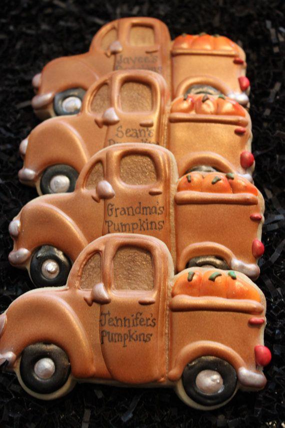 Truck Cookies Thanksgiving Cookies by 4theloveofcookies on Etsy