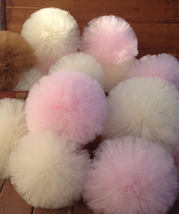 Pom Pom Di Tulle.Big Pompom Set 6 Tulle Pom Pom Party Decoration Products