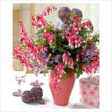 Spring Bouquet With Dicentra Spectabilis And Myosotis In Vase Bleeding Heart Flower Bleeding Heart Flower Bouquet Wedding