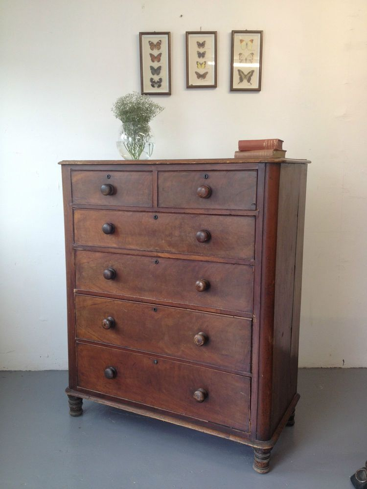Lovely Large Victorian Antique Mahogany Chest Of Drawers Tall Boy Bedroom Chest Of Drawers Furniture Bedroom Drawers
