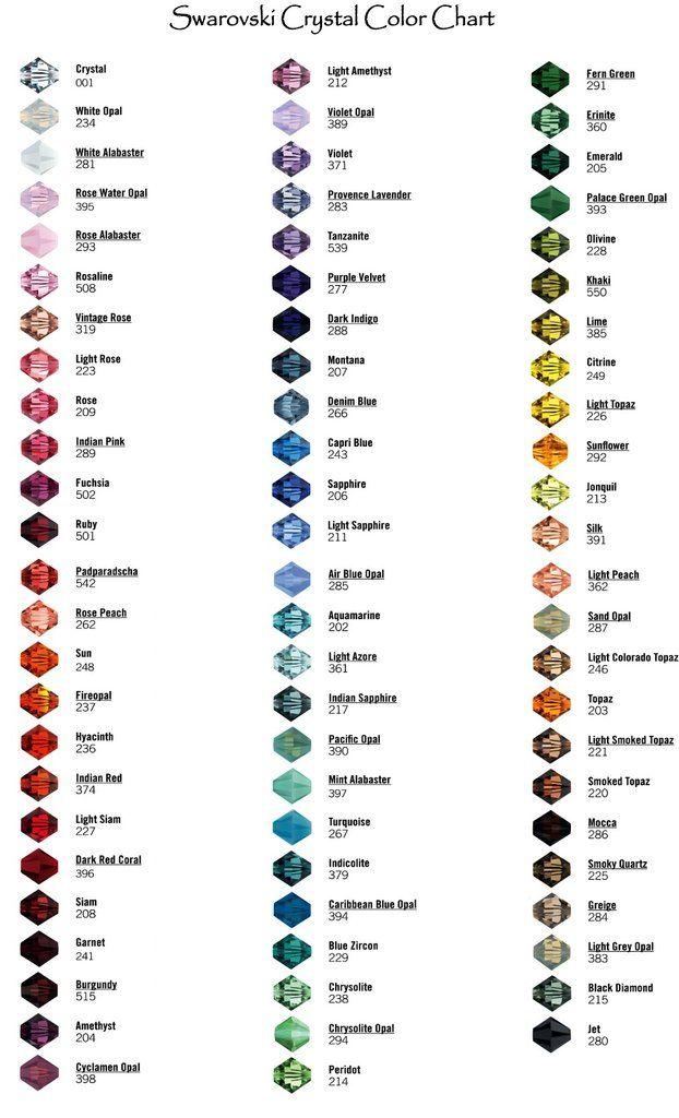 Swarovski Crystal Colors Also Links To Details On Colors And Names Of Colors Swarovski Crystals Diy Swarovski Beads Swarovski Crystal Earrings