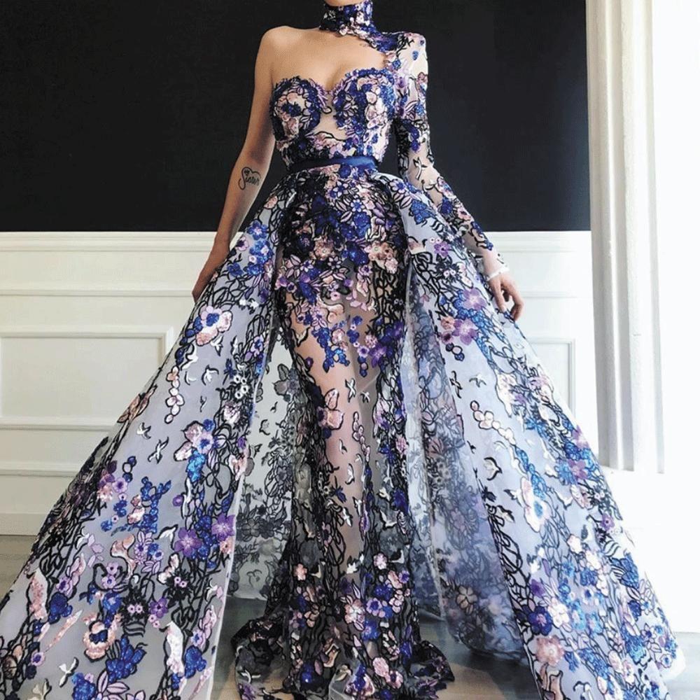 High Neck Evening Dresses 2020 Detachable Skirt One Shoulder Embroidery Applique Elegant Evening Go Evening Gowns Elegant High Neck Evening Dress Gowns Dresses
