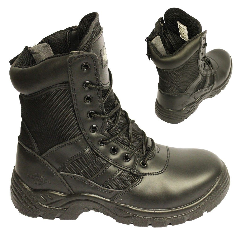 Details about Mens Leather Safety Boot Army Military