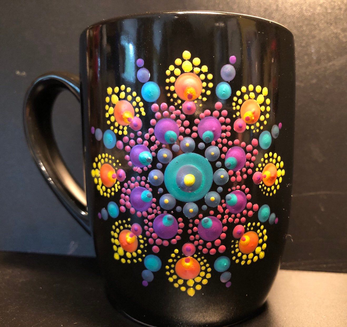 Dot Mandala Mug Dot Mug Mandala Mug Mandala Gift Coffee Etsy Pottery Painting Designs Dot Art Painting Ceramic Painting