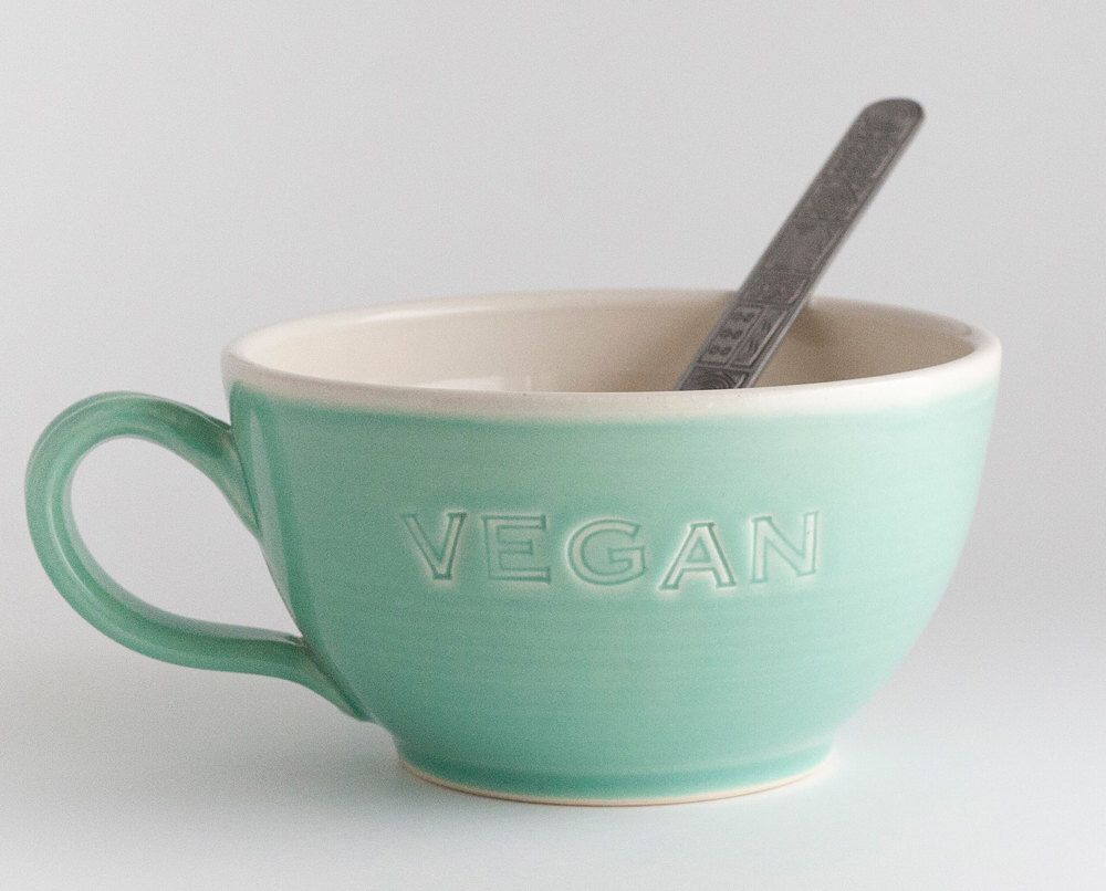 Vegan Dish - Latte Cup - Soup Mug - Jade - READY TO SHIP by JeanetteZeis on Etsy https://www.etsy.com/listing/461446762/vegan-dish-latte-cup-soup-mug-jade-ready