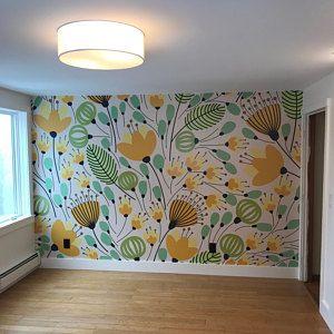 Removable Wallpaper Self Adhesive Wallpaper Green Watercolor Palm Leaves Peel & Stick Wallpaper