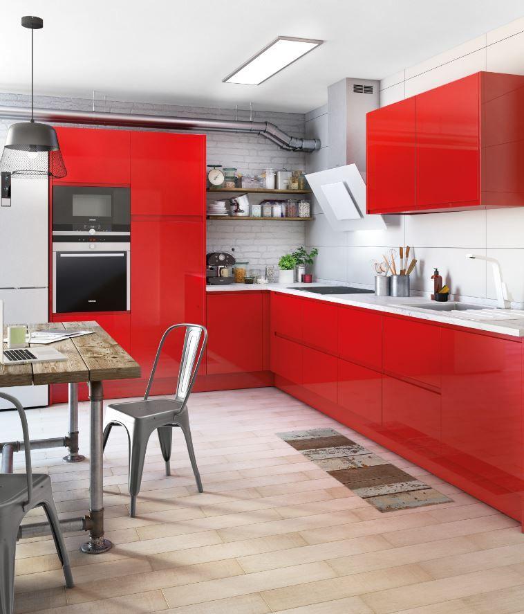 Una Apuesta Por El Color Logra Una Cocina Original Y Llena De Energia Leroy Merlin Gabinetes Cocina Muebles De Cocina Cocina De Moda
