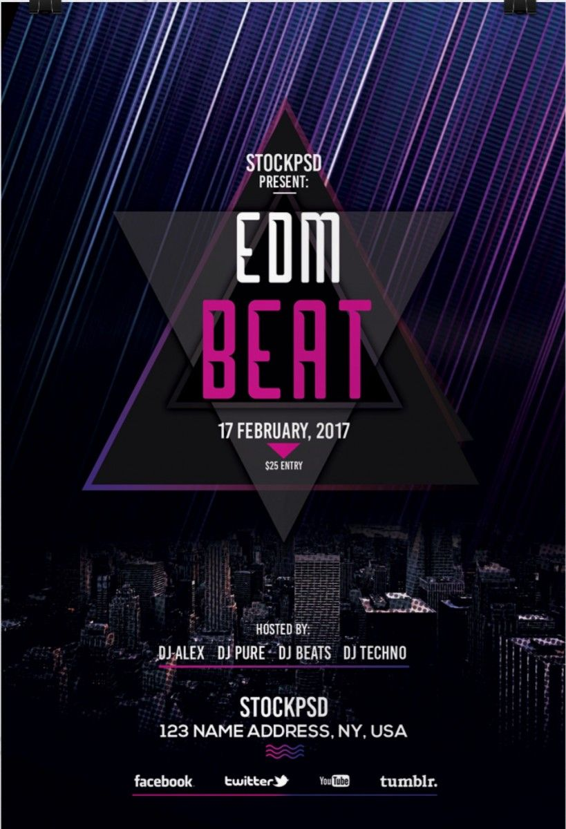 edm beat free psd flyer template free psd flyer download free