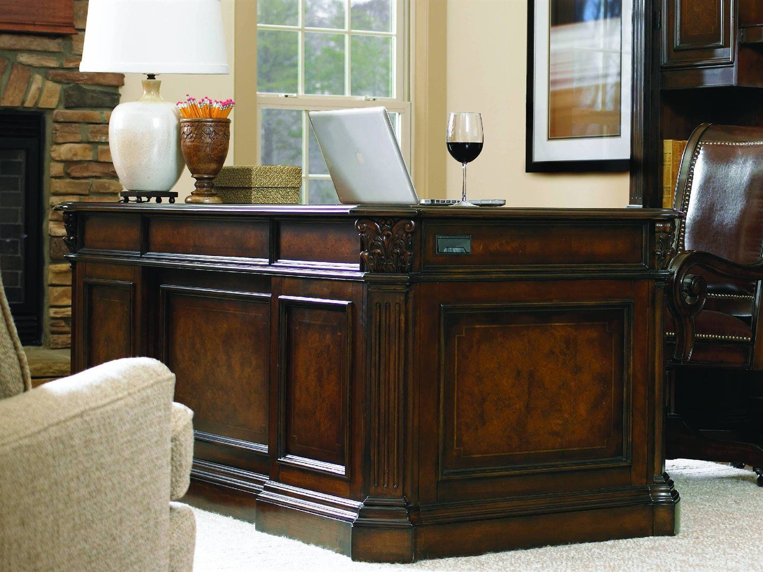 Shop For Hooker Furniture European Renaissance II Executive Desk, And Other  Home Office Desks Furniture. Cherry And Myrtle Burl Veneers With Hardwood  Solids ...