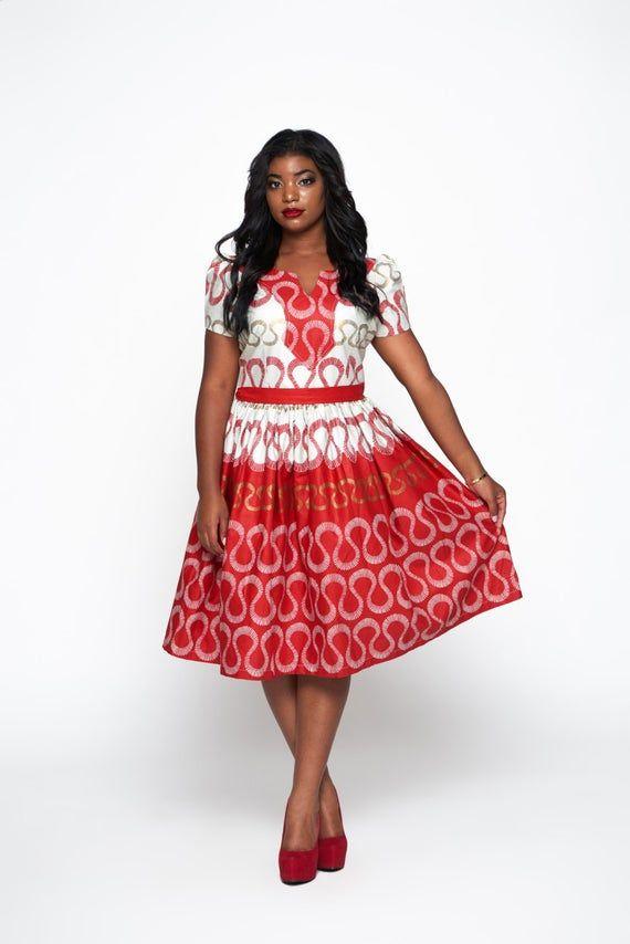 Red & White Woodin Ankara African Print Belted Dress #afrikanischerdruck