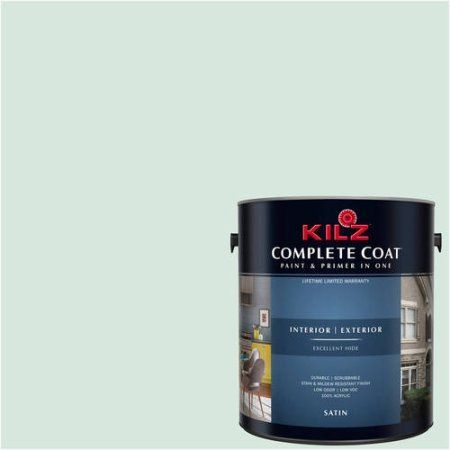 Kilz Complete Coat Interior/Exterior Paint & Primer in One #RG190-01 Creamy Mint, 1 gal, Flat, Green