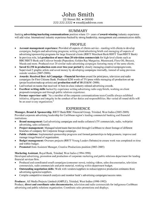 Advertising Manager Resumes Pin By Shashi On Download Sample Resume And