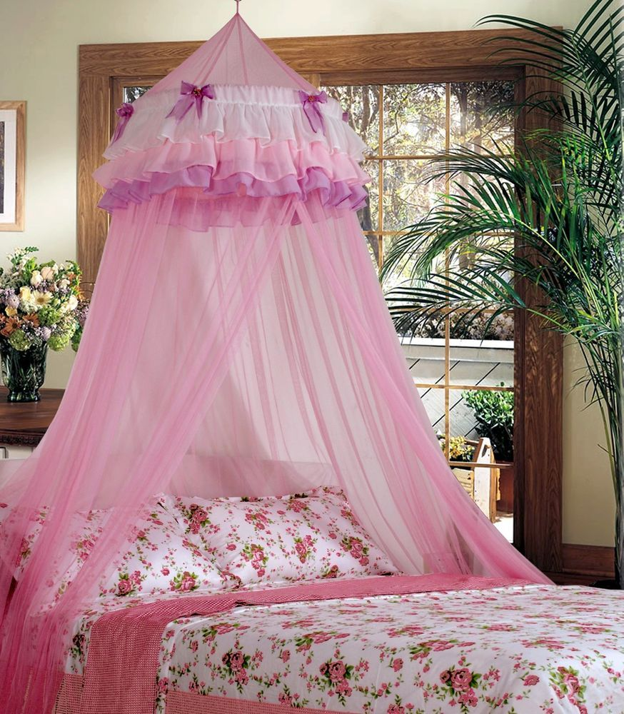 Elegant Lace Bed Mosquito Netting Mesh Canopy Princess Round Dome