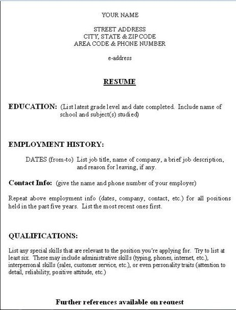 Free Printable Resume Format - Free Printable Resume Format that we