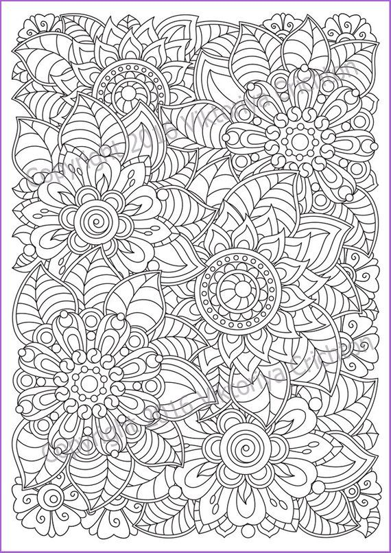 Flowers zentangle Coloring page for adults, doodle, PDF ...