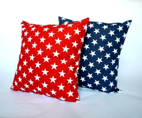 Patriotic Red White Blue Star Pillow CoverDecorative Throw