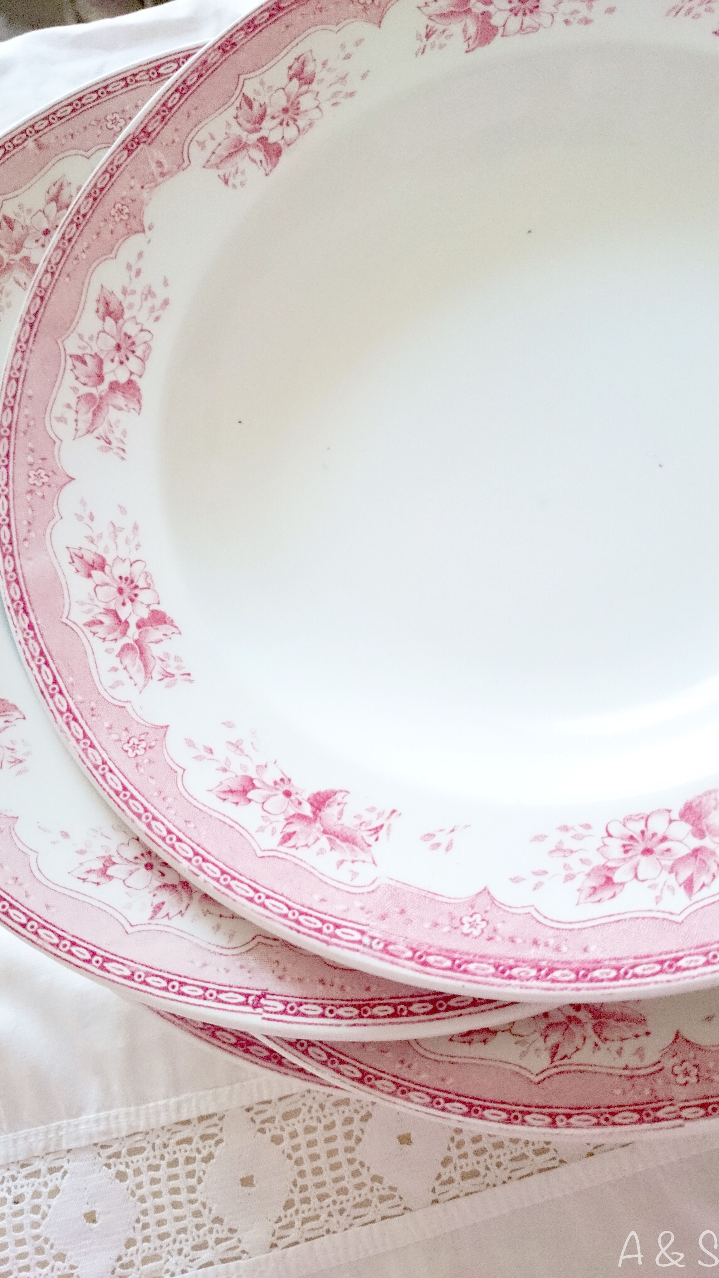 vintage pink and white China dishes on a lace tablecloth | Pink ...