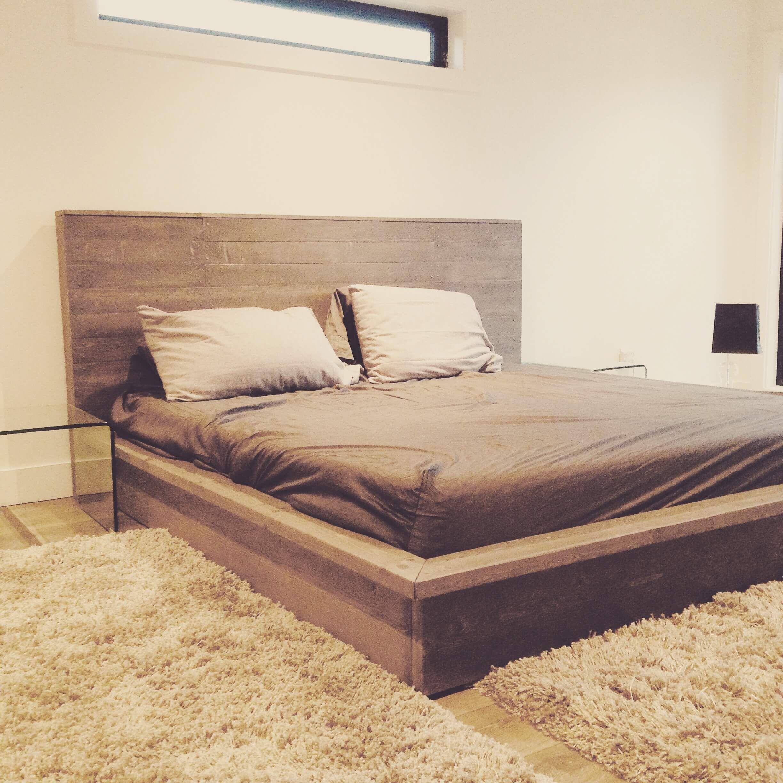 Luxury Gray Restoration Hardware Style Platform Bed