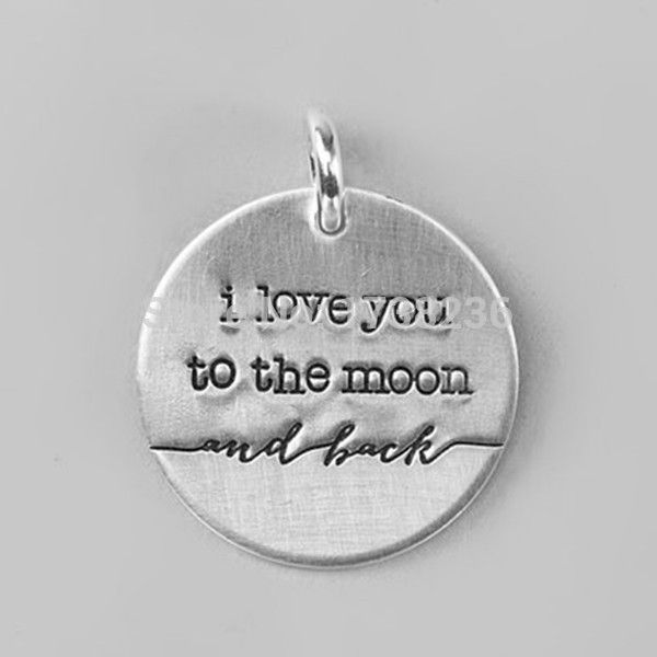 One Side Antique Silver Plated I Love You To The Moon And Back Disk Plate Jewelry Making Charm Diy,High Quality jewelry swan,China charm bulldog Suppliers