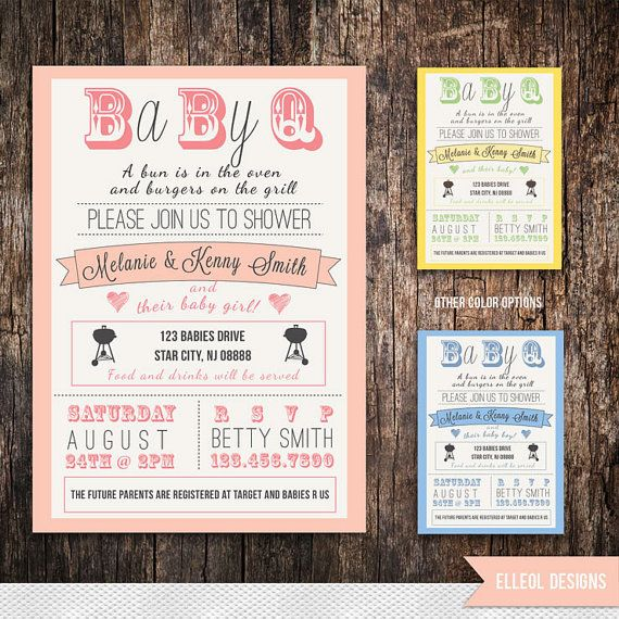 Couples Baby Shower BBQ Invitation Boy Girl Gender By ElleOL, $16.00
