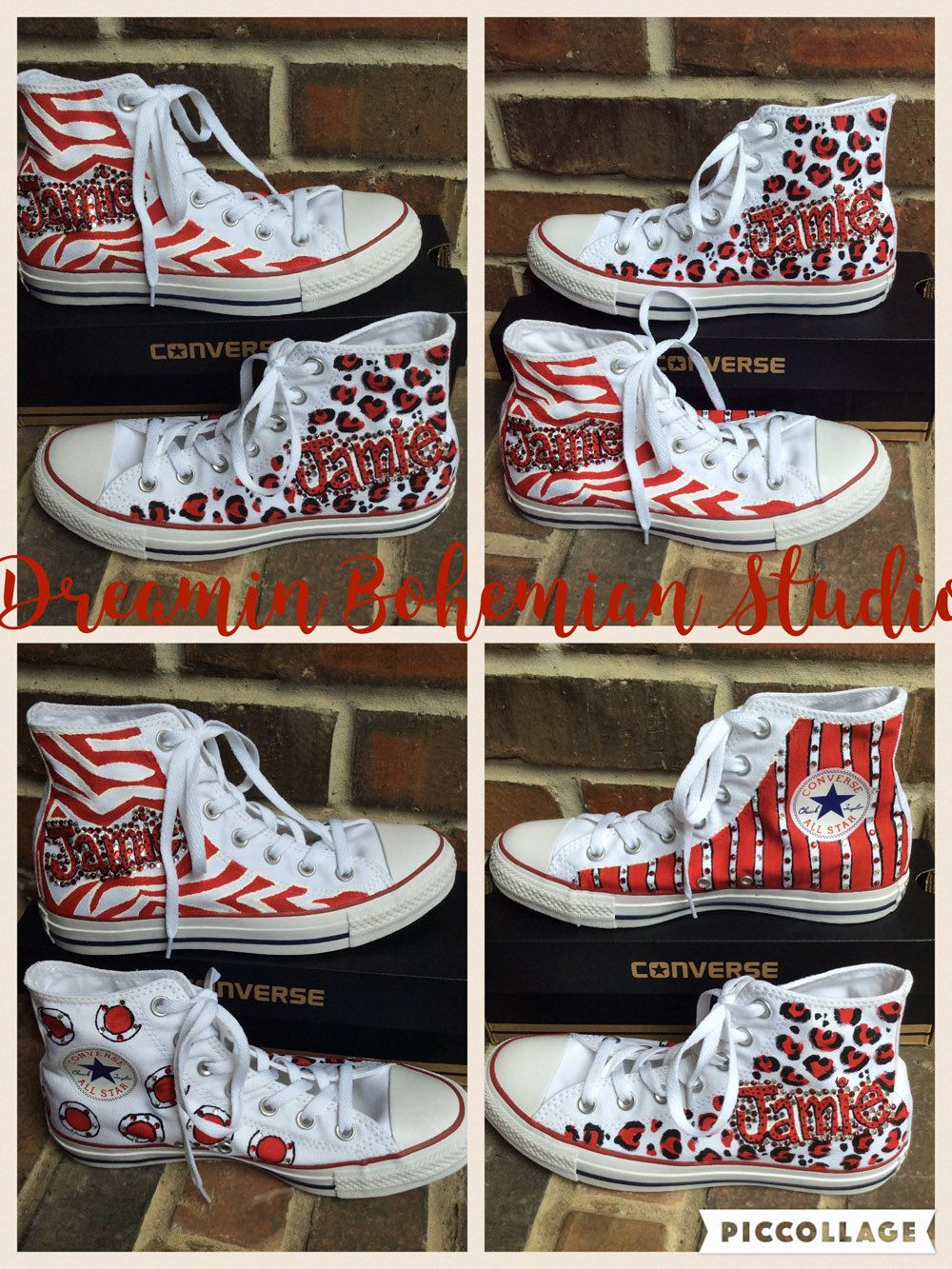 181d61c6efa2 Handpainted Zebra Print in School Colors Personalized Converse ...