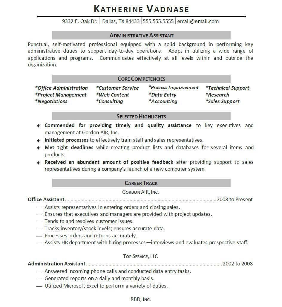 Administrative Resume Sample Permalink To Assistant Resume Examples  Resume  Pinterest