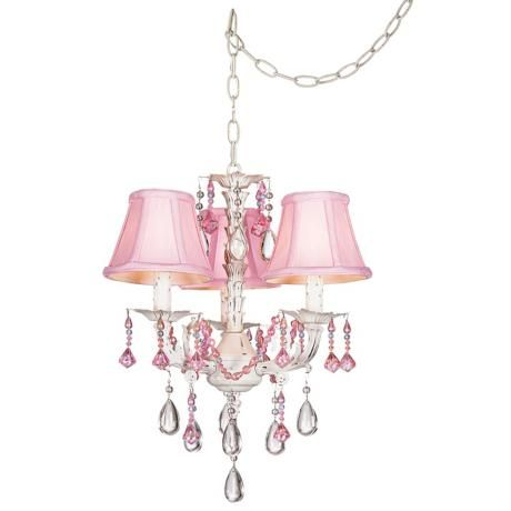 Pretty In Pink Swag Style Plug In Mini Chandelier Style 27319