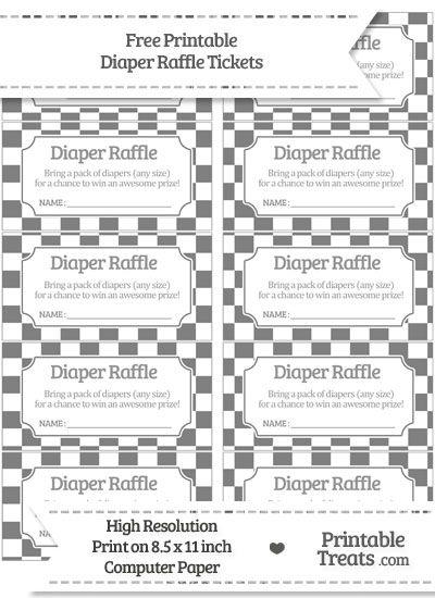 Free Grey Checker Pattern Diaper Raffle Tickets Baby