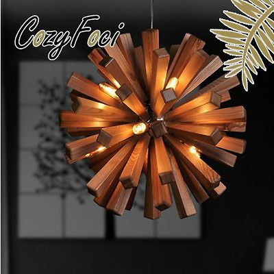 New-Modern-Wooden-Flower-Ceiling-Chandelier-Pendant-Lamp-Lighting-Fixture-A77