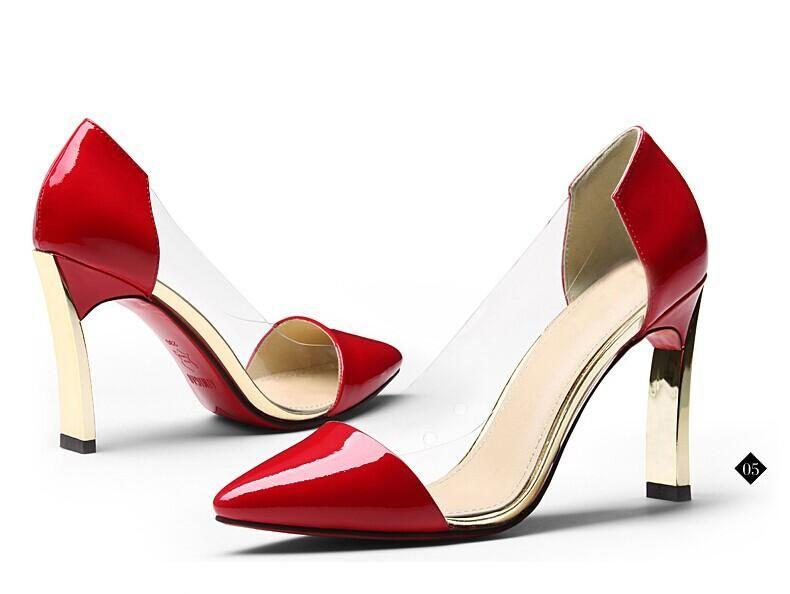 sposa sottolineato scarpe con tacco 8CM rosso nero rosa bianco traslucido partito scarpe da sera nuziale accessori