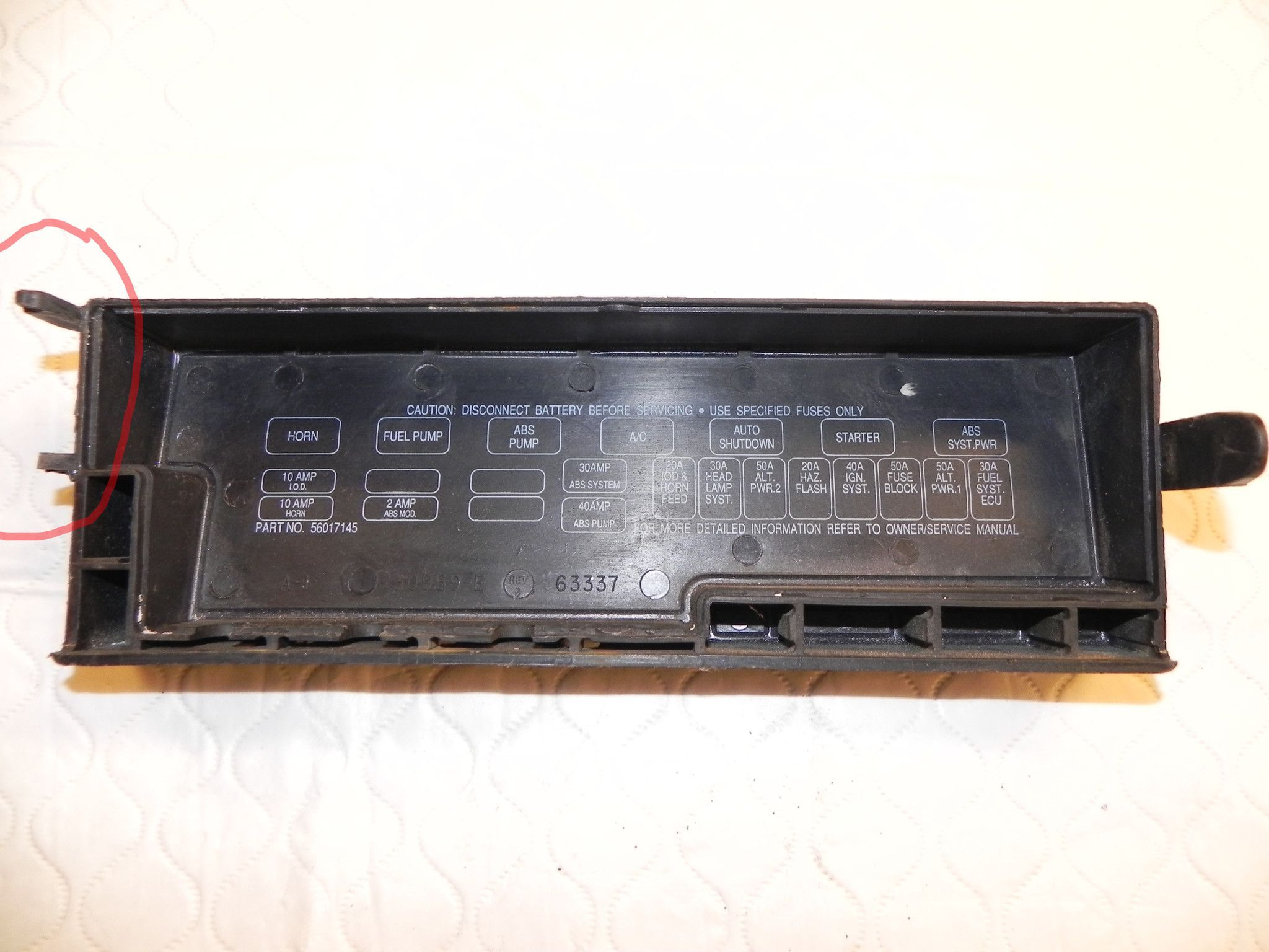jeep wrangler yj upper fuse box cover power distribution center 91-95 oem