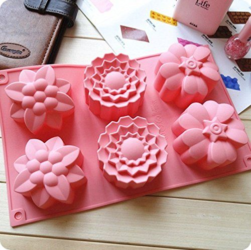 Cake Mold Soap Mold  6-Flowers Flower Silicone Mould For Candy Chocolate