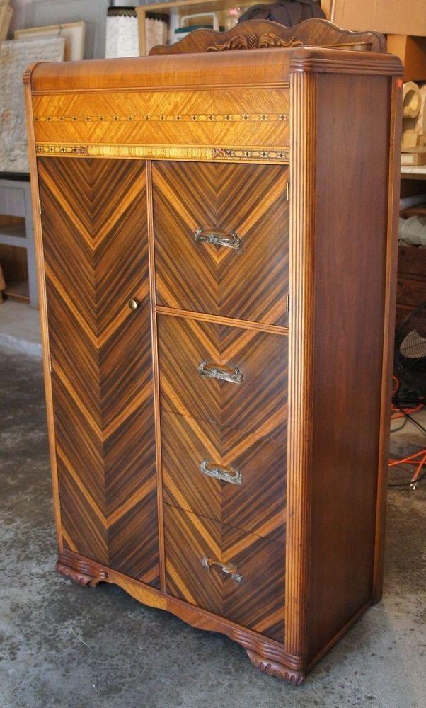 Antique Waterfall Art Deco Tallboy Dresser Chest Cedar Lined Oak Maple Bakelite Artdeco