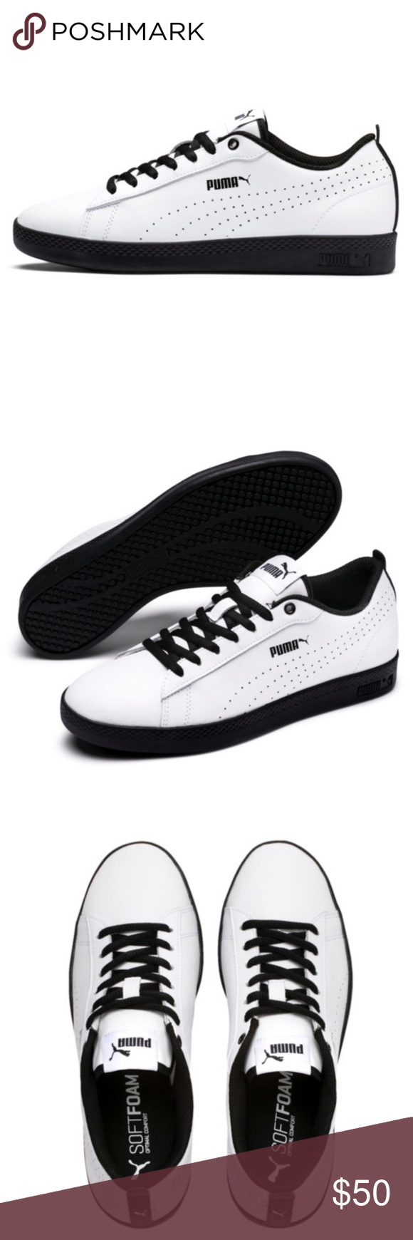 2a28a376a3a PUMA Smash V2 L Perf Tennis Sneakers Shoes White Brand new in original box