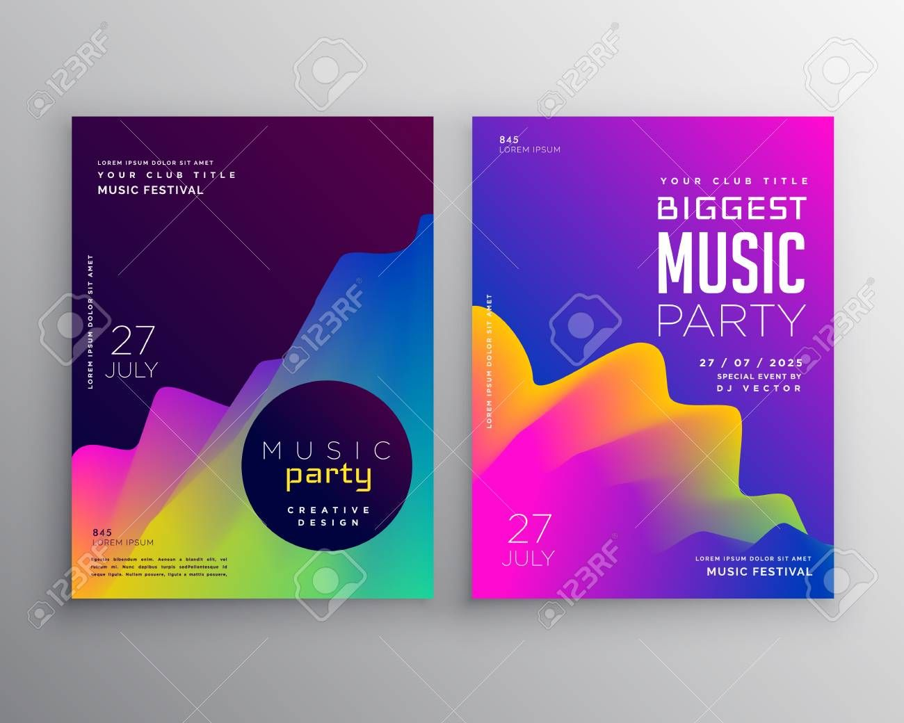 Vibrant Abstract Music Party Event Flyer Poster Template Design Sponsored Music Party Poster Template Design Event Schedule Design Poster Template Free