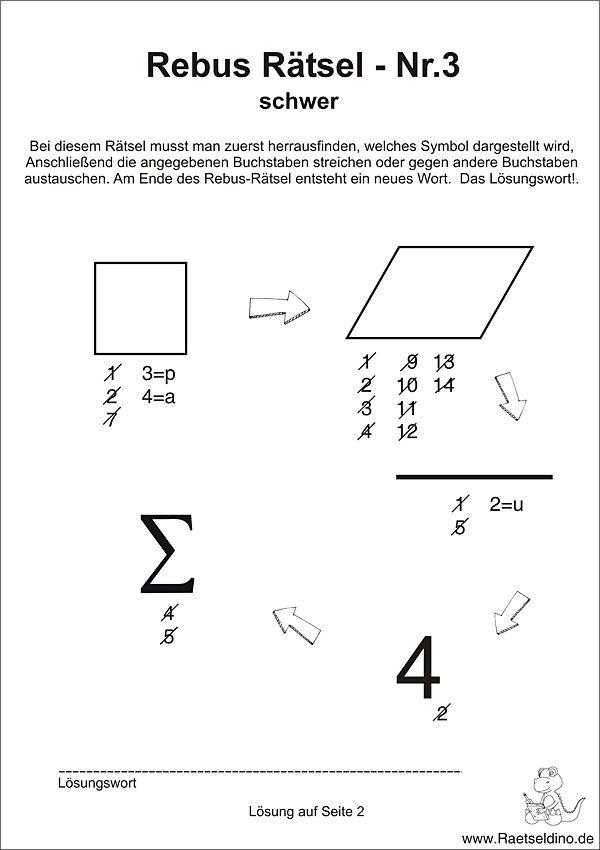 Rebus Rätsel schwer für Erwachsene | Kunstunterricht | Pinterest ...