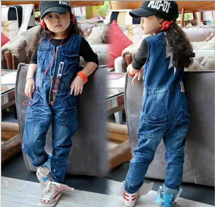 439573ffe7c Boy's girl's fashion 2012 autum sleeveless jumpsuits kids denim ...
