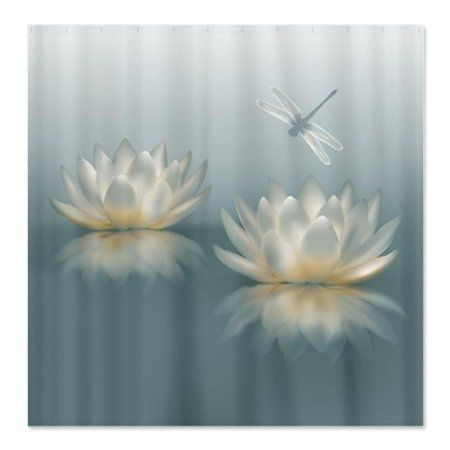 Amazon Com Lotus And Dragonfly Shower Curtain By Cafepress