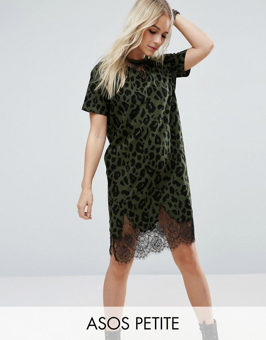 ea5ad0b1beb Buy it now. ASOS PETITE T-Shirt Dress with Lace Inserts in Leopard ...