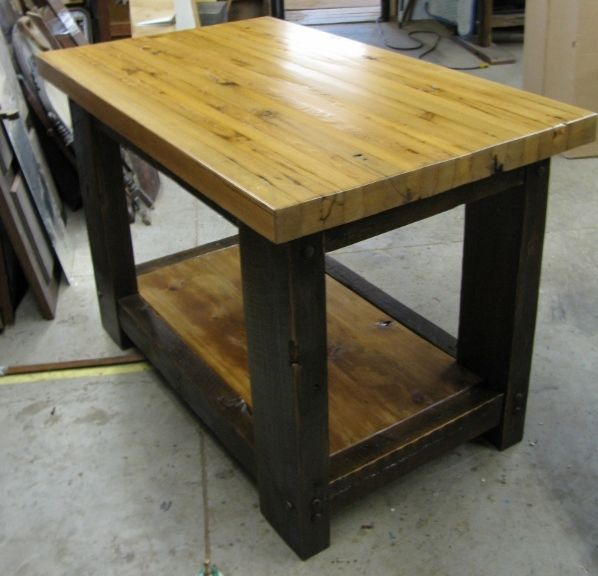 Sold Handmade Butcher Block Table With Shelf