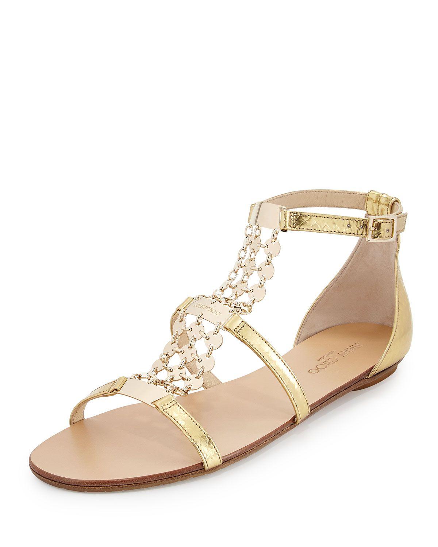 Jimmy Choo Wyatt Metallic Chain Trim Flat Sandal Gold Jimmy Choo Heels White Strappy Sandals Womens Evening Shoes