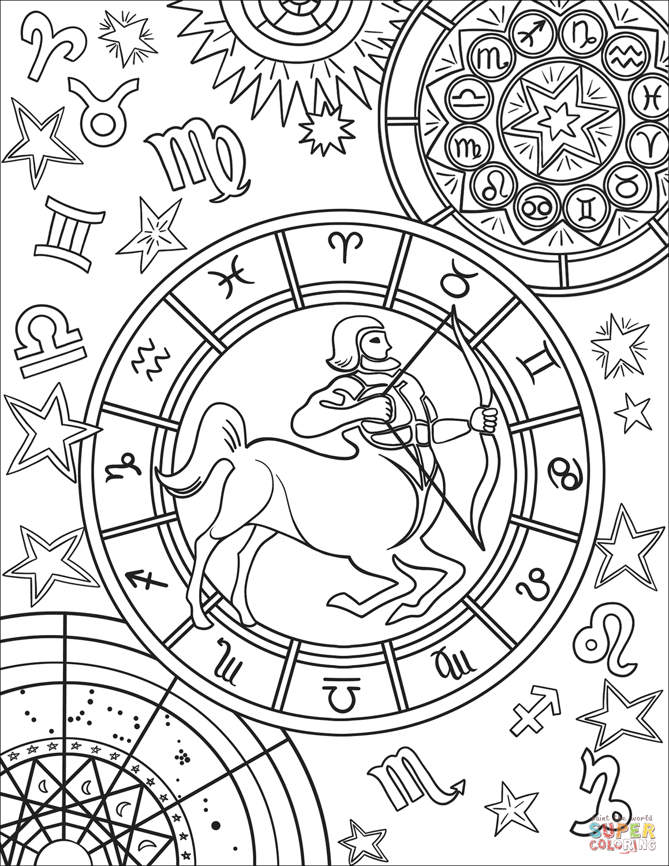 Sagittarius Zodiac Sign Coloring Page Free Printable Coloring Pages Star Coloring Pages Space Coloring Pages Mandala Coloring Pages