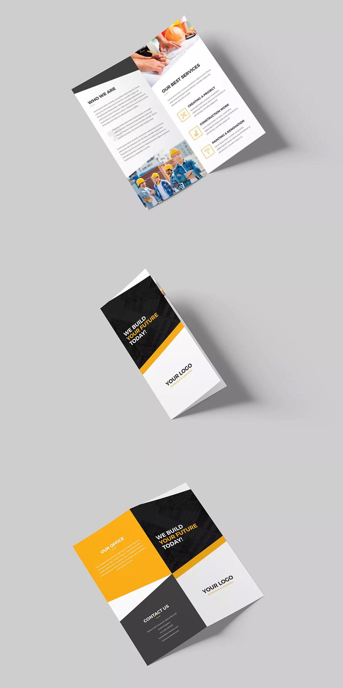 Architecture Construction BiFold DL Brochure Template PSD DL - Dl size flyer template
