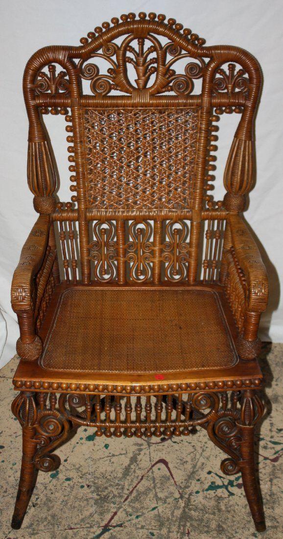 150 Heywood Wakefield Wicker Arm Chair With Elaborate