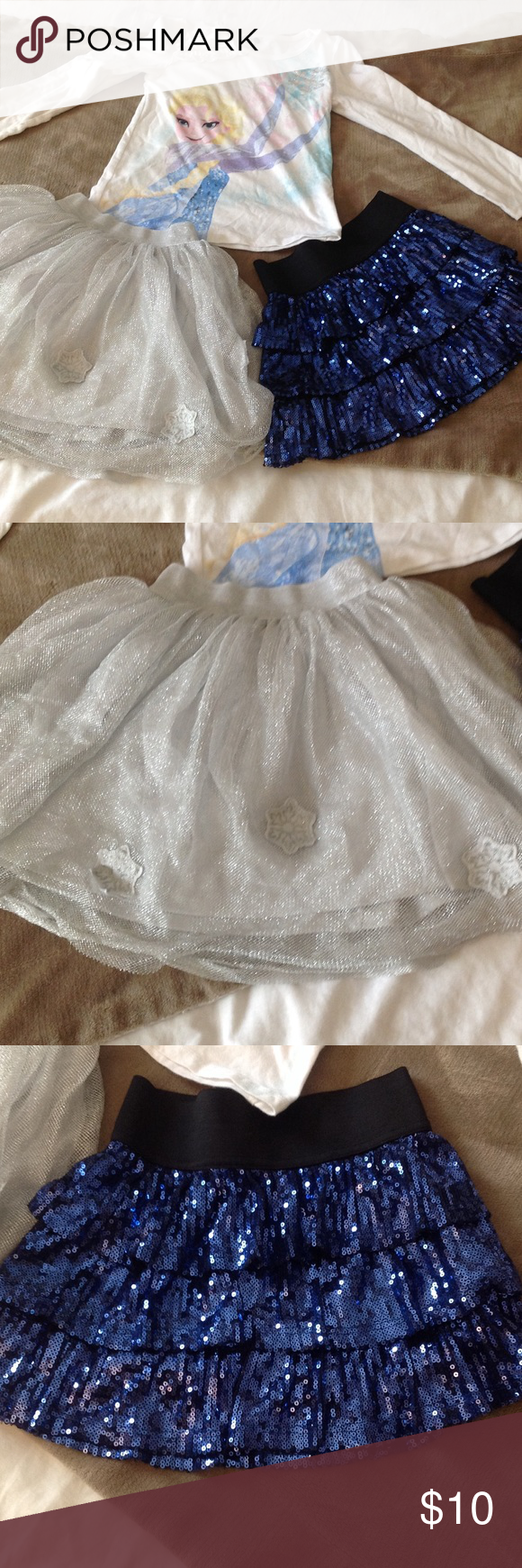 Skirt and top bundle ! Skirt size are 5 and 6, top is size 6. My girl used these lightly, her Frozen fever thawed out quickly! Bottoms Skirts