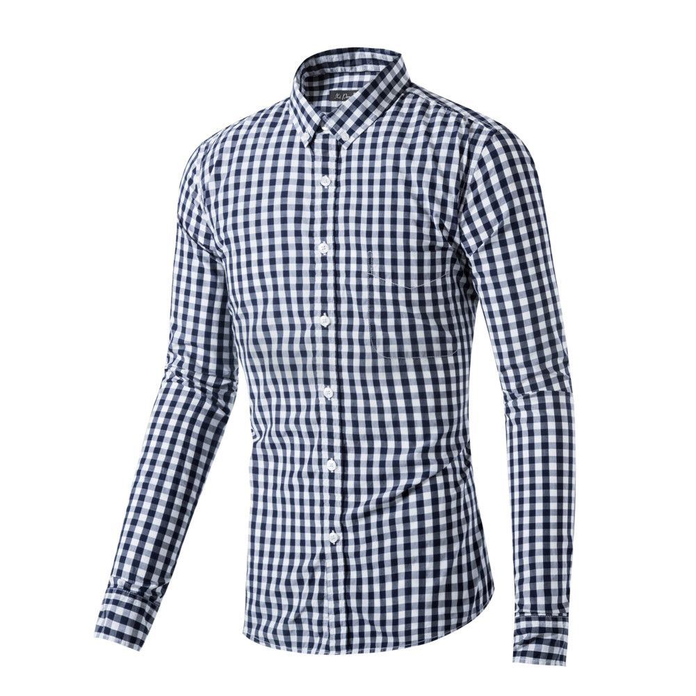 Men/'s Button Down Casual Shirts Long Sleeve Small Plaid Slim Fit Cotton Shirts