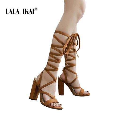 364b342f1fb2 LALA IKAI Women Bandage Cross Flock Sandals Pump 2018 Ankle Strap High  Square Heels 11.5CM