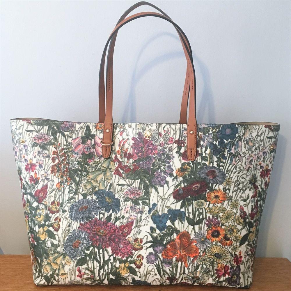 14a24bfba1b TORY BURCH Kerrington Large Square TOTE Bag ~ Melody Floral ~ New ...